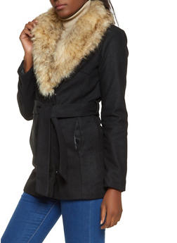 Faux Fur Collar Wool Jacket - 3085051066191