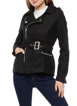 Belted Wool Zip Up Jacket - 3085051067770