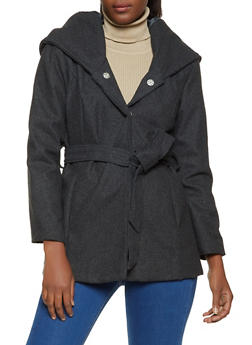 Belted Hooded Wool Coat - 3085051069060