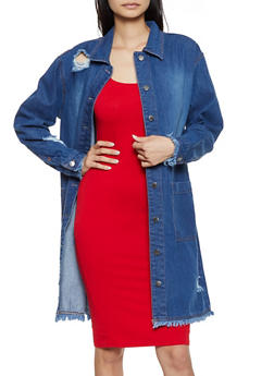 Distressed Long Denim Jacket - 3086038340110