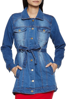 Tie Waist Button Front Denim Jacket - 3086038340111