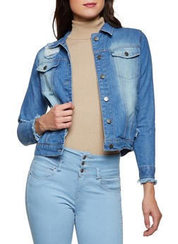 Distressed Long Sleeve Jean Jacket - 3086038340112