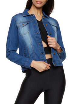 Button Front Denim Jacket - 3086038341010