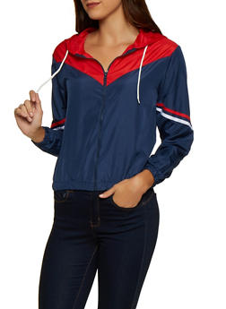 Color Block Varsity Stripe Windbreaker - 3086038344506