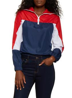 Zip Neck Color Block Windbreaker Jacket - 3086038344508
