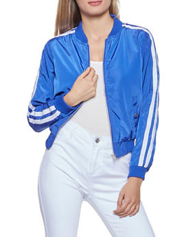 Varsity Stripe Zip Up Bomber Jacket - 3086051060175