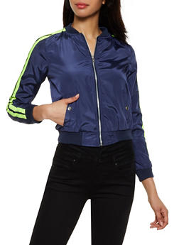 Nylon Varsity Stripe Bomber Jacket - 3086051064412