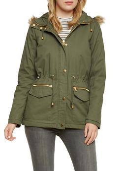 Drawstring Jacket with Faux Fur Trim - 3086051065007