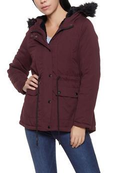 Faux Fur Trim Anorak Jacket - 3086051065809
