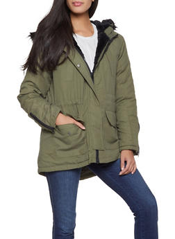 Faux Fur Trim Hooded Anorak Jacket - 3086051065839