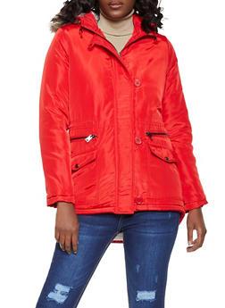 Sherpa Lined Hooded Nylon Anorak Jacket - 3086051065865