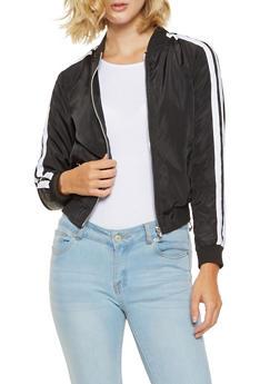 Varsity Stripe Bomber Jacket - BLACK/WHITE - 3086051066441