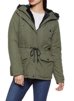 Faux Fur Trim Anorak Jacket - 3086051066613