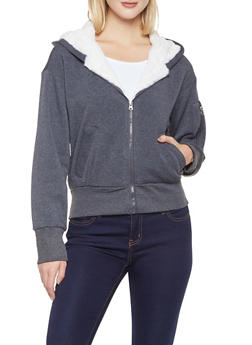 Sherpa Trim Hooded Sweatshirt - 3086051066928