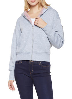 Sherpa Trim Hooded Sweatshirt - 3086051066928