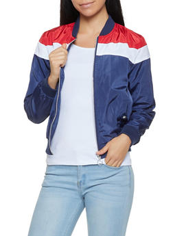 Color Block Lightweight Bomber Jacket - 3086051066934