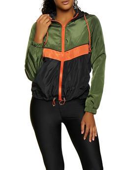 Hooded Color Block Zip Windbreaker - 3086051067044