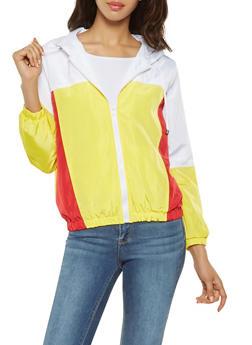 Color Block Hooded Windbreaker - WHITE - 3086051067133