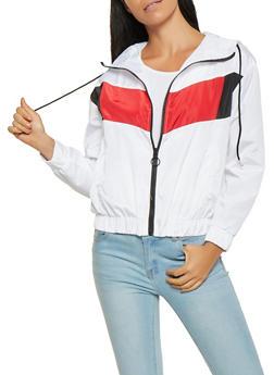 Hooded Color Block Windbreaker - 3086051067192