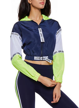 Jersey Mesh Insert Love Color Block Windbreaker - 3086051067478