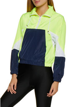 Color Block Pullover Windbreaker - 3086051067542