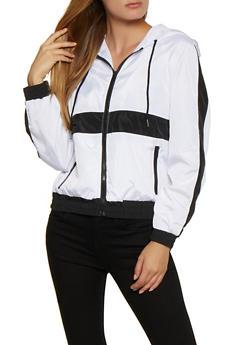 Color Block Zip Up Hooded Windbreaker - 3086051067714