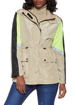 Zip Front Hooded Color Block Windbreaker Jacket - 3086051067865