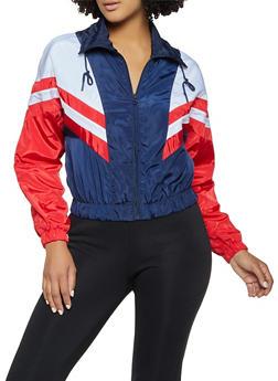 Chevron Color Block Windbreaker Jacket - 3086051067879