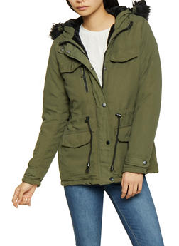 Faux Fur Hooded Anorak Jacket - 3086051068047