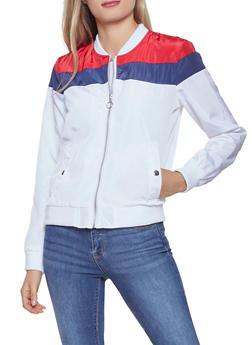 Color Block Zip Up Windbreaker Jacket - 3086051069214
