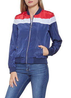 Color Block Zip Up Windbreaker - 3086051069214