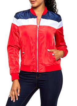 Color Block Nylon Bomber Jacket - 3086051069340