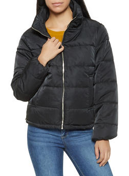Zip Up Puffer Jacket - BLACK - 3086054260566