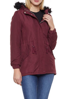 Faux Fur Hooded Anorak Jacket - 3086054260574