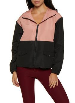 Color Block Zip Windbreaker Jacket - 3086054261447