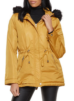 Faux Fur Trim Hooded Parka - 3086054261511
