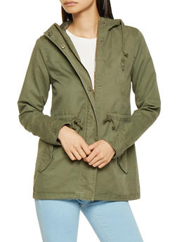 Hooded Twill Anorak Jacket - 3086054265430