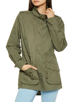 Zip Front Twill Anorak Jacket - 3086054268877