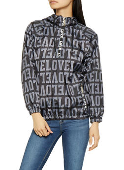 Love Graphic Hooded Windbreaker - BLACK - 3086063401808