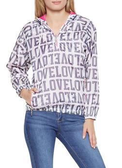 Love Graphic Hooded Windbreaker - WHITE - 3086063401808