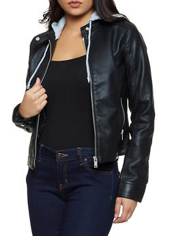 Faux Leather Zip Hooded Jacket - 3087051060490