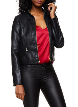 Stitched Shoulder Faux Leather Jacket - 3087051060601