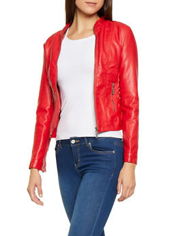 Ruched Side Faux Leather Jacket - 3087051060700