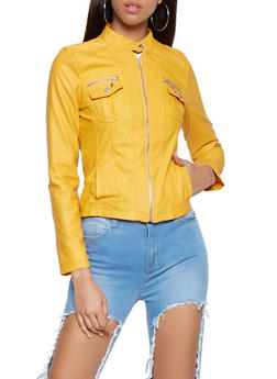 Zip Up Faux Leather Jacket - 3087051060830
