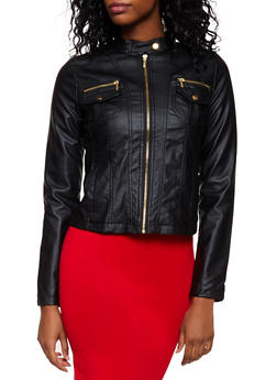 Two Pocket Faux Leather Moto Jacket - 3087051060831