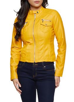 Two Pocket Faux Leather Moto Jacket - 3087051060831