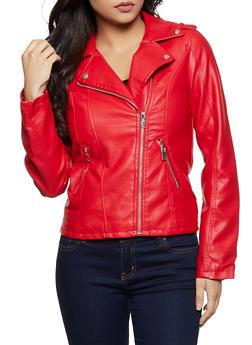 Zip Pocket Faux Leather Moto Jacket - 3087051061530