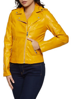 Zip Pocket Faux Leather Moto Jacket - 3087051061530