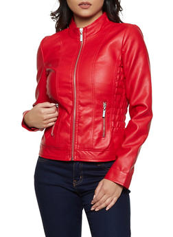 Ruched Faux Leather Jacket - 3087051062070