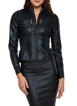 Smocked Side Faux Leather Moto Jacket - 3087051062926